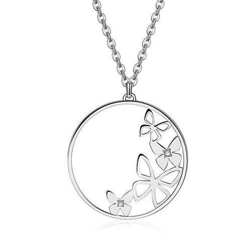 Collana Donna Sagapò collezione Doily SOY01 in acciaio 316L con pendenti a forma circolare con farfalle all'interno.