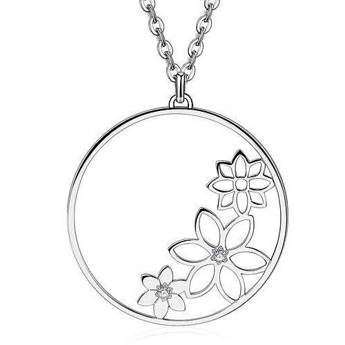 Collana Donna Sagapò collezione Doily SOY02 in acciaio 316L con pendenti a forma circolare con fiori all'interno.