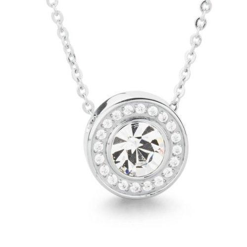 Collana donna S'Agapò collezione Stardust SST01 in acciaio 316L con pendente con cristalli bianchi.
