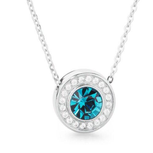 Collana donna S'Agapò collezione Stardust SST02 in acciaio 316L con pendente con cristallo indicolite e cristalli bianchi.