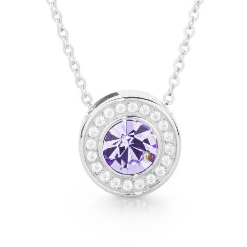 Collana donna S'Agapò collezione Stardust SST03 in acciaio 316L con pendente con cristallo tanzanite e cristalli bianchi.