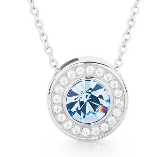 Collana donna S'Agapò collezione Stardust SST04 in acciaio 316L con pendente con cristallo light sapphire e cristalli bianchi. Lunghezza 540 mm.