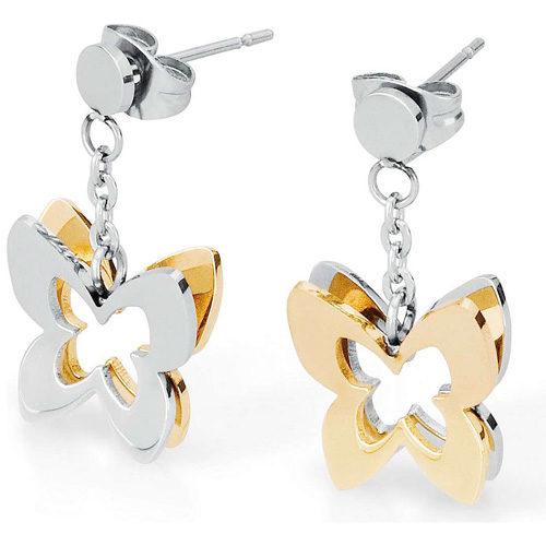 Orecchini Donna Sagapò collezione Butterfly SBF21 in acciaio 316L, con farfalle acciaio e pvd gold. Lunghezza 15 mm.