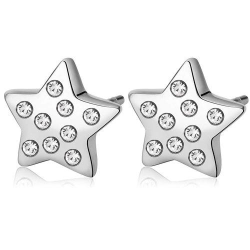 Orecchini Donna Sagapò collezione Days SDY24 in acciaio inossidabile a forma di stella con cristalli. Grandezza 10 mm.