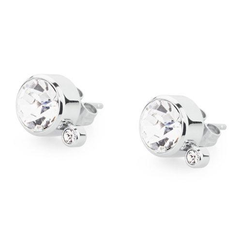 Orecchini donna S'Agapò collezione Stardust SST21 in acciaio 316L e cristalli bianchi. Misura orecchini 10 mm