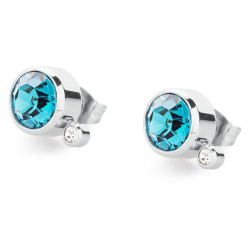 Orecchini donna S'Agapò collezione Stardust SST22 in acciaio 316L, cristallo indicolite e cristalli bianchi. Misura orecchini 10 mm