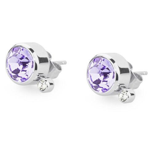 Orecchini donna S'Agapò collezione Stardust SST23 in acciaio 316L, cristalli tanzanite e cristalli bianchi. Misura orecchini 10 mm