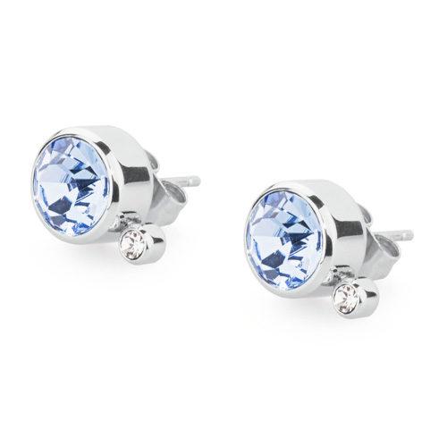 Orecchini donna S'Agapò collezione Stardust SST24 in acciaio 316L, cristalli light sapphire e cristalli bianchi. Misura orecchini 10 mm