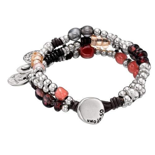 Bracciale Donna Uno de 50 pul1318rsamtl0m in cuoio marrone composto da vari fili di perle bagnate nell'argento e cristalli artigianali multicolori. Gioiello UNOde50 realizzato 100% artigianalmente in Spagna.