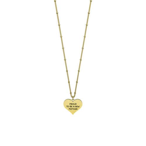Collana donna Kidult 751108 Cuore new Mother Gold pvd realizzata in acciaio 316L anallergico con charm pendente a forma di cuore, modello corto da 45 cm. Assoluta novità Kidult 2020.