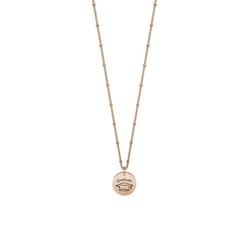 Collana donna Kidult 751109 Laurea dreams in Rosè pvd realizzata in acciaio 316L anallergico con charm pendente rotondo, modello corto da 45 cm. Assoluta novità Kidult 2020.