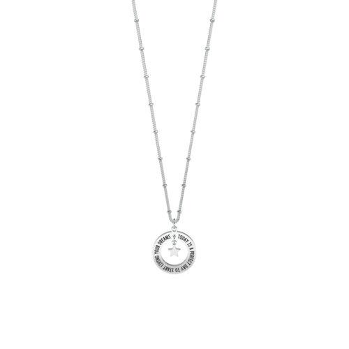 Collana donna Kidult 751113 Today is a perfect day realizzata in acciaio 316L anallergico con charm pendente rotondo, modello corto da 45 cm. Assoluta novità Kidult 2020.
