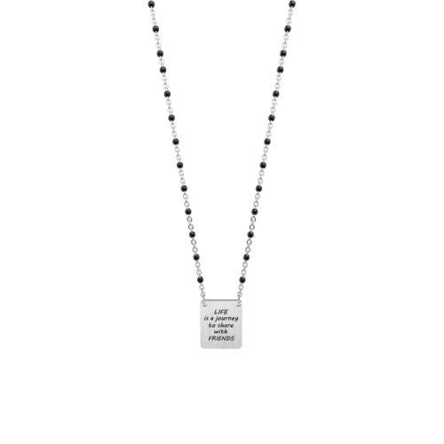 Collana donna Kidult 751115 Life Is A Journey realizzata in acciaio 316L anallergico a forma quadrata, modello corto da 45 cm. Assoluta novità Kidult 2020.