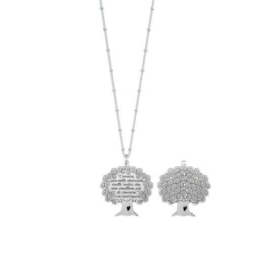 Collana donna Kidult 751118 Albero della vita realizzata in acciaio 316L anallergico pendente a forma di albero, modello lungo da 80 cm. Assoluta novità Kidult 2020.