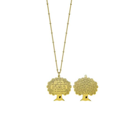 Collana donna Kidult 751119 Albero della vita Gold pvd realizzata in acciaio 316L anallergico pendente a forma di albero, modello lungo da 80 cm. Assoluta novità Kidult 2020.