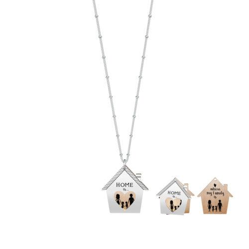 Collana donna Kidult 751120 Home my family realizzata in acciaio 316L anallergico con doppio pendente a forma di casa, modello lungo da 80 cm. Assoluta novità Kidult 2020.