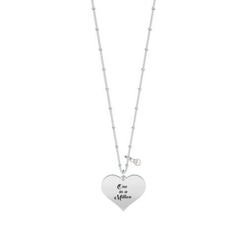 Collana donna Kidult 751122 One in a million realizzata in acciaio 316L anallergico con charm pendente a forma di cuore, modello lungo da 80 cm. Assoluta novità Kidult 2020.
