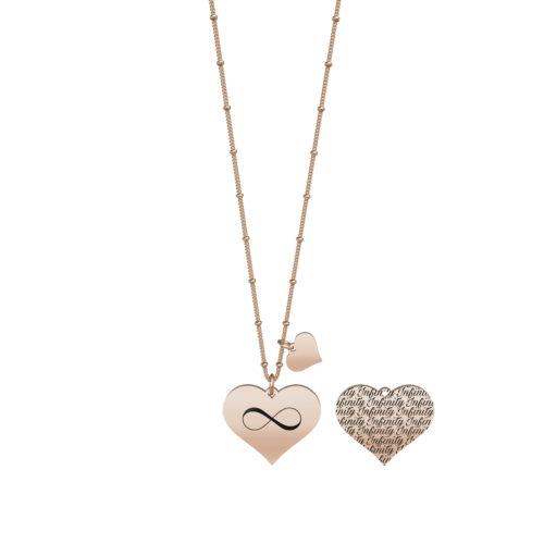 Collana donna Kidult 751123 Cuore infinito in Rosè pvd realizzata in acciaio 316L anallergico con charm pendente a forma di cuore, modello lungo da 80 cm. Assoluta novità Kidult 2020.
