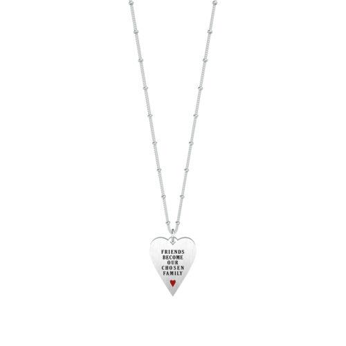 Collana donna Kidult 751124 Cuore amici realizzata in acciaio 316L anallergico con charm pendente a forma di cuore, modello lungo da 80 cm. Assoluta novità Kidult 2020.