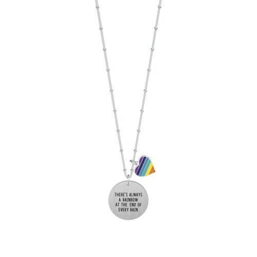 Collana donna Kidult 751127 Rainbowrealizzata in acciaio 316L anallergico con charm pendente rotondo, modello lungo da 80 cm. Assoluta novità Kidult 2020.