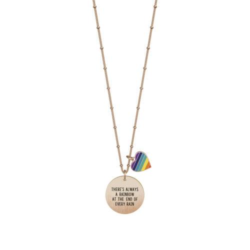 Collana donna Kidult 751128 Rainbow in Rosè pvd realizzata in acciaio 316L anallergico con charm pendente rotondo, modello lungo da 80 cm. Assoluta novità Kidult 2020.