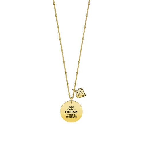 Collana donna Kidult 751129 Chi trova un amico Gold pvd realizzata in acciaio 316L anallergico con charm pendente rotondo, modello lungo da 80 cm. Assoluta novità Kidult 2020.