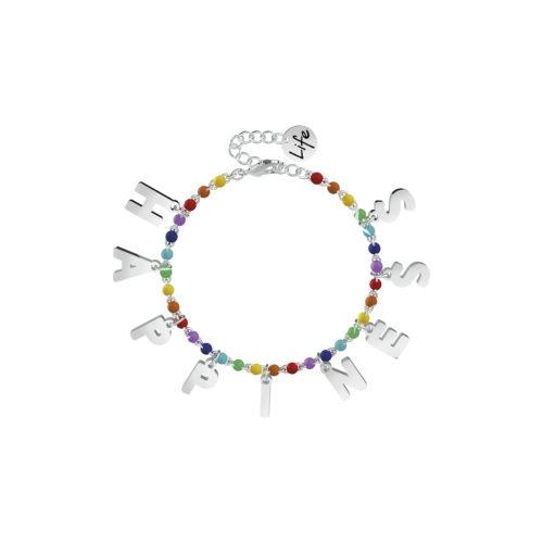 Bracciale donna Kidult 751582 Happiness, realizzato in acciaio 316L anallergico con sfere smaltate e lettere pendenti. Assoluta novità Kidult 2020.