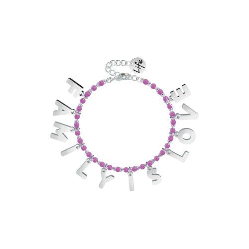 Bracciale donna Kidult 751584 Family is love , realizzato in acciaio 316L anallergico con sfere smaltate e lettere pendenti. Assoluta novità Kidult 2020.