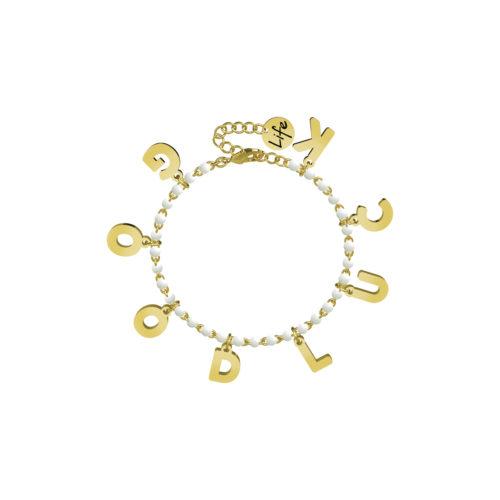 Bracciale donna Kidult 751586 Good Luck , realizzato in acciaio 316L anallergico con sfere smaltate e lettere pendenti Gold pvd. Assoluta novità Kidult 2020