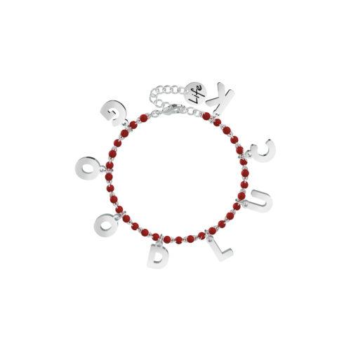 Bracciale donna Kidult 751587 Good Luck , realizzato in acciaio 316L anallergico con sfere smaltate e lettere pendenti. Assoluta novità Kidult 2020.