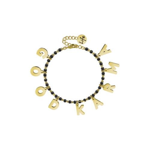 Bracciale donna Kidult 751588 Good Karma , realizzato in acciaio 316L anallergico con sfere smaltate e lettere pendenti in Gold pvd. Assoluta novità Kidult 2020.