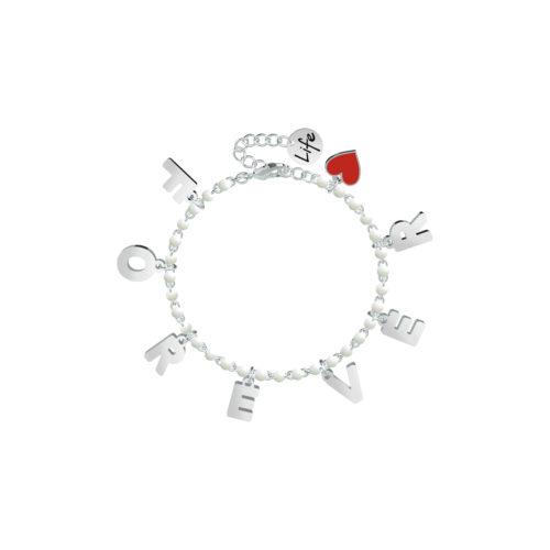 Bracciale donna Kidult 751589 Forever , realizzato in acciaio 316L anallergico con sfere smaltate e lettere pendenti. Assoluta novità Kidult 2020.