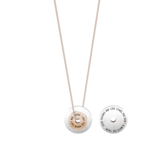Collana donna Kidult 751132 Good friends in Rosè pvd realizzata in acciaio 316L anallergico con charm pendente rotondo, modello lungo da 80 cm. Assoluta novità Kidult 2020..