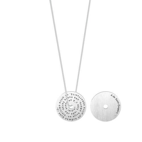 Collana donna Kidult 751133 Opportunità realizzata in acciaio 316L anallergico con charm pendente rotondo, modello lungo da 80 cm. Assoluta novità Kidult 2020.