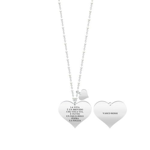 Collana donna Kidult 751135 Sally , collezione Vasco Rossi , realizzata in acciaio 316L anallergico con charm pendente a forma di cuore, modello lungo da 80 cm. Assoluta novità Kidult 2020.