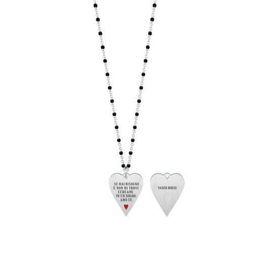 Collana donna Kidult 751136 E... , collezione Vasco Rossi , realizzata in acciaio 316L anallergico con charm pendente a forma di cuore, modello lungo da 80 cm. Assoluta novità Kidult 2020.