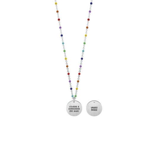 Collana donna Kidult 751137 Vivere , collezione Vasco Rossi , realizzata in acciaio 316L anallergico con charm pendente rotondo, modello corto da 44 cm. Assoluta novità Kidult 2020.