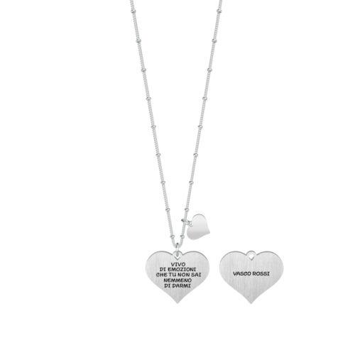 Collana donna Kidult 751139 Rewind , collezione Vasco Rossi , realizzata in acciaio 316L anallergico con charm pendente a forma di cuore, modello da 80 cm. Assoluta novità Kidult 2020..