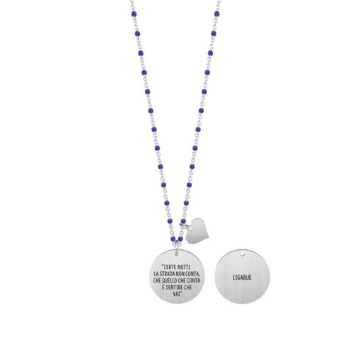 Collana donna Kidult 751140 Certe notti , collezione Ligabue , realizzata in acciaio 316L anallergico con charm pendente rotondo, modello da 80 cm. Assoluta novità Kidult 2020.