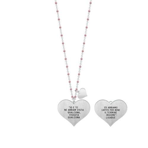 Collana donna Kidult 751141 L'amore conta , collezione Ligabue , realizzata in acciaio 316L anallergico con charm pendente a forma di cuore, modello lungo da 80 cm. Assoluta novità Kidult 2020.