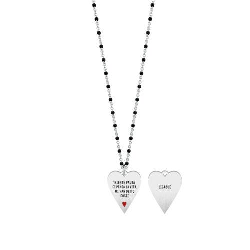 Collana donna Kidult 751142 Niente paura , collezione Ligabue , realizzata in acciaio 316L anallergico con charm pendente a forma di cuore, modello lungo da 80 cm. Assoluta novità Kidult 2020.