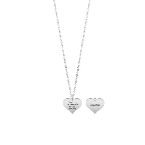 Collana donna Kidult 751143 Metti in circolo il tuo amore , collezione Ligabue , realizzata in acciaio 316L anallergico con charm pendente a forma di cuore, modello corto da 45 cm. Assoluta novità Kidult 2020.