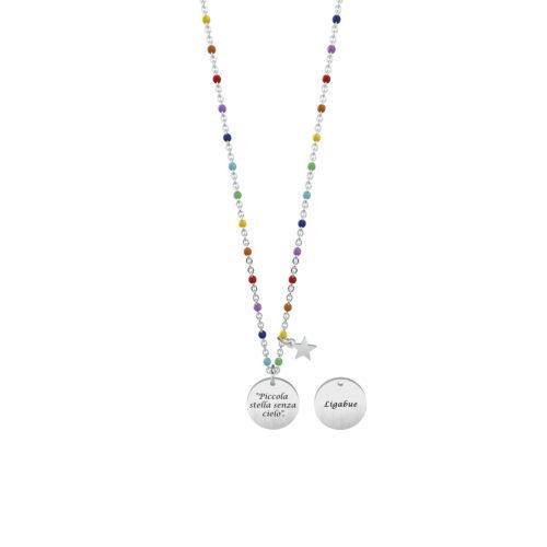 Collana donna Kidult 751144 Piccola stella senza cielo , collezione Ligabue , realizzata in acciaio 316L anallergico con charm pendente rotondo, modello corto da 45 cm. Assoluta novità Kidult 2020.