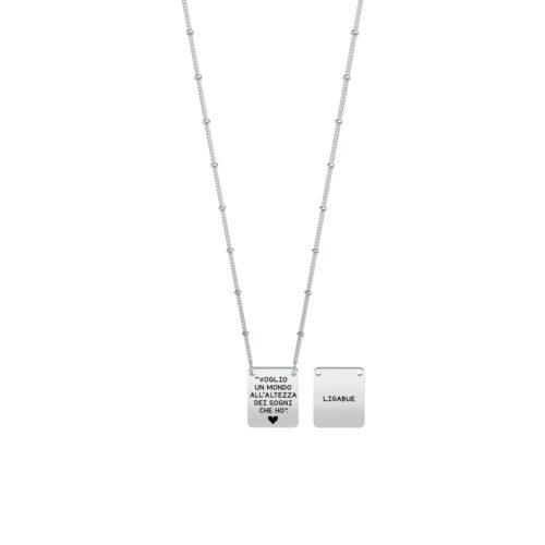 Collana donna Kidult 751145 Voglio volere, collezione Ligabue , realizzata in acciaio 316L anallergico con charm pendente quadrato, modello corto da 45 cm. Assoluta novità Kidult 2020.