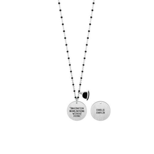 Collana donna Kidult 751147 Imagination, collezione Charlie Chaplin , realizzata in acciaio 316L anallergico con charm pendente rotondo, modello lungo da 80 cm. Assoluta novità Kidult 2020.