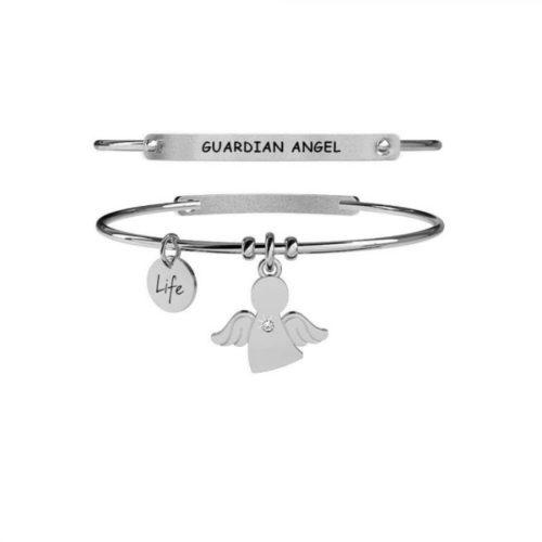 Bracciale donna Kidult 231669 Angelo Custode realizzato in acciaio anallergico , modello rigido con pendente a forma di angelo. Assoluta novità Kidult 2020.
