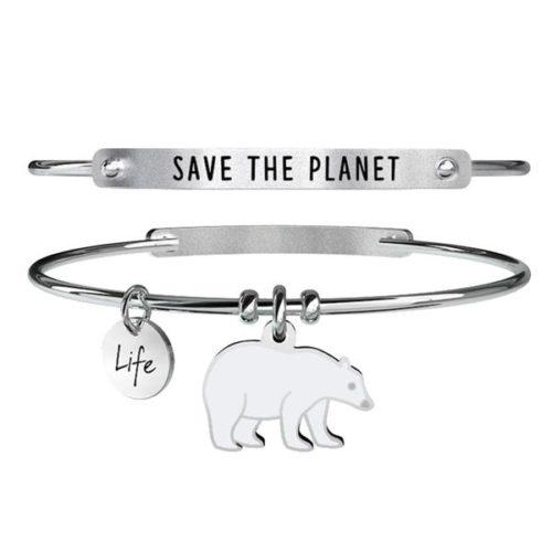 Bracciale Kidult Donna 731370 Orso Polare, Save The Planet , realizzato in acciaio inossidabile rigido e pendente a forma di orso smaltato bianco. Assoluta novità 2020.