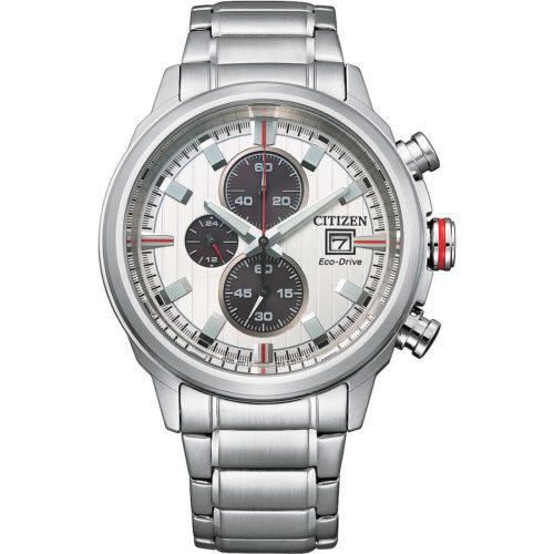 Orologio Citizen CA0738-83A . Orologio cronografo sport da uomo di citizen, della collezione of 2020. La cassa e bracciale sono in acciaio. Il diametro è di 43 Mm. Il quadrante è di colore bianco creato in vetro minerale e con indici applicati. Il bracciale è in acciaio con chiusura a pulsante. La resistenza all'acqua è di 10 Atm. Il movimento è Eco -Drive con riserva di carica di 9 Mesi. Cronografo A1/5 di secondo Fino A 60 Minuti con datario.
