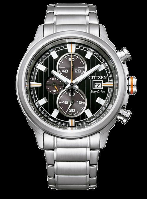 Orologio Citizen CA0730-85E Orologio uomo citizen, collezione chrono, movimento eco-drive, chrono, cassa in acciaio 43mm, quadrante nero, bracciale in acciaio, resistenza all'acqua 10atm.
