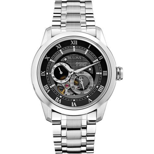 Orologio Solo Tempo Uomo Bulova Bva Series 96A119. L'orologio meccanico da uomo 96A119 di Bulova della Bva Series è un prodotto dal design ricercato e il fascino irresistibile. Il segnatempo presenta una cassa tonda di 42 mm realizzata in acciaio, con vetro minerale, e con cinturino in acciaio con chiusura deployante. L'elemento più distintivo di questo orologio Bulova è il quadrante con numeri romani che presenta il meccanismo interno a vista. Il movimento dell'orologio è meccanico e la resistenza all'acqua è garantita fino a 30 metri. Si tratta di un orologio in grado di fare la differenza, perfetto per i look più ricercati e più eleganti